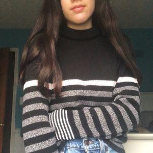 Vintage Black Striped Knit Turtleneck Sweater